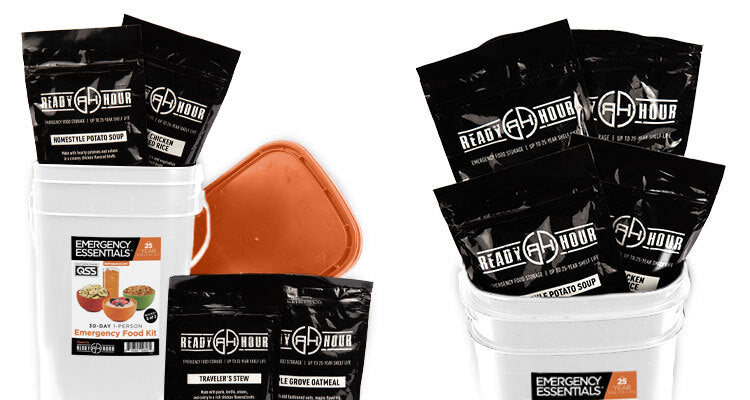 emergency food buckets with pouches