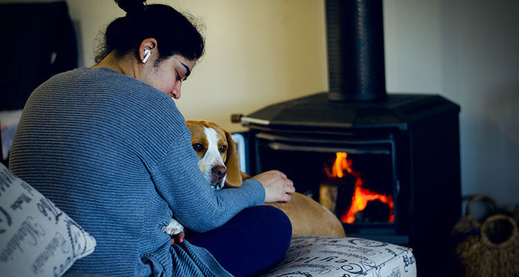 huddling on the couch with a dog in front of the fire