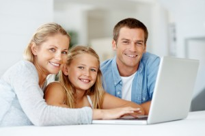 Family together at the computer