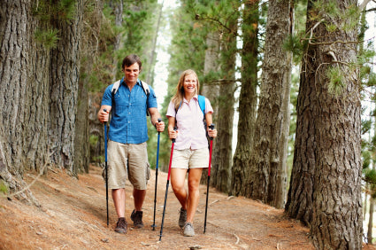 Couple hiking on a trail