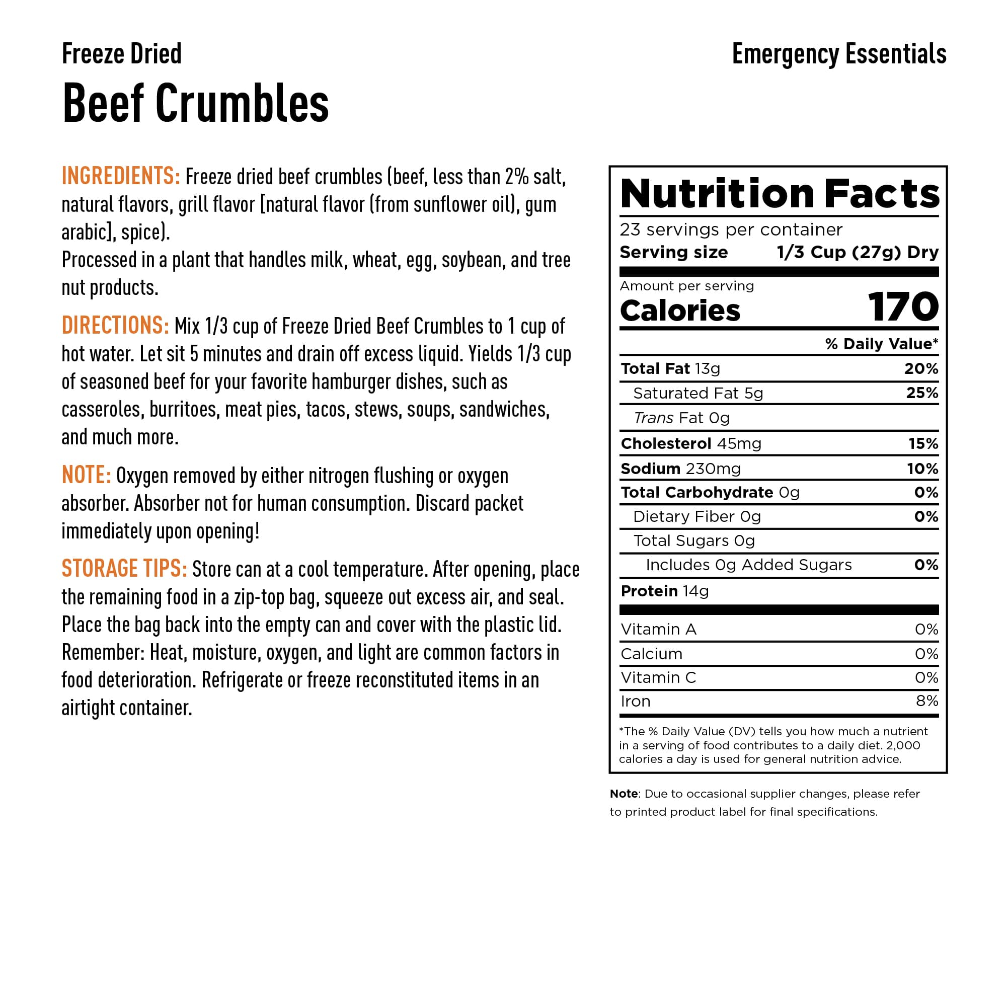 Beef Crumbles Nutrition Info