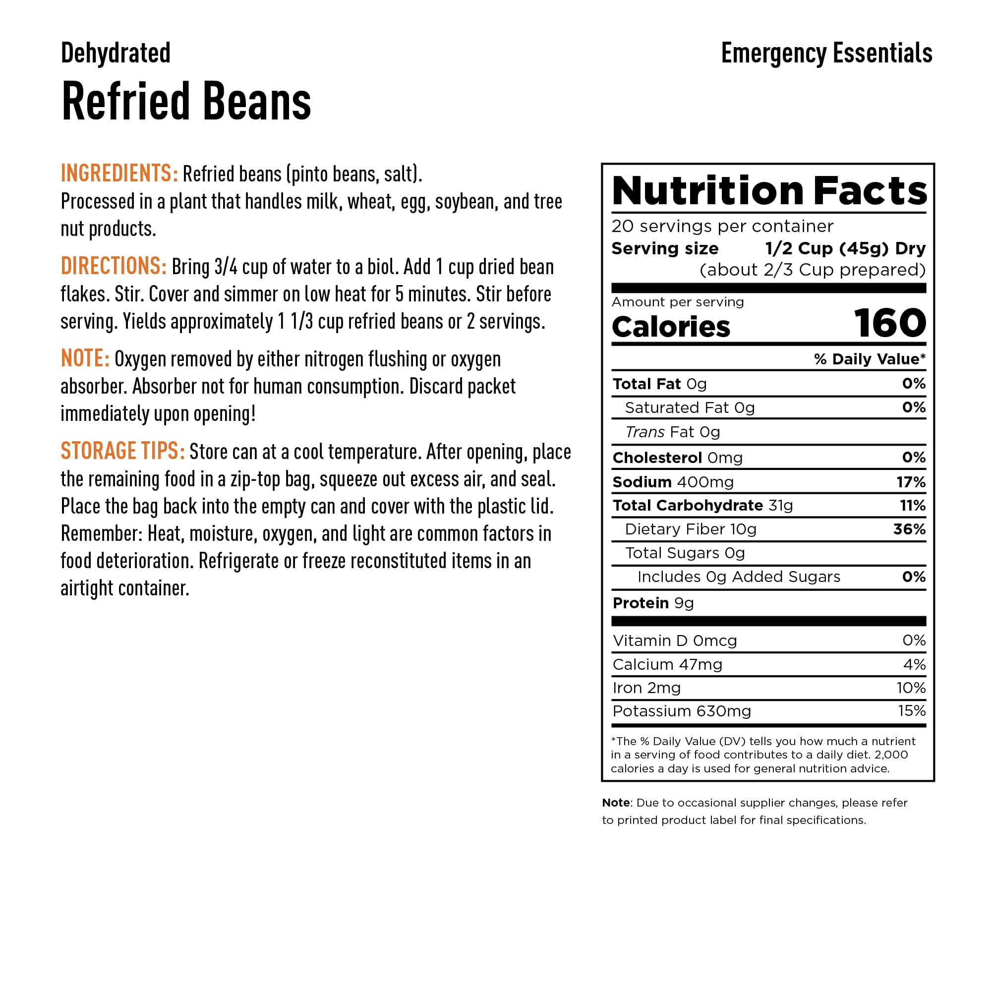 Refried Beans Nutrition Info