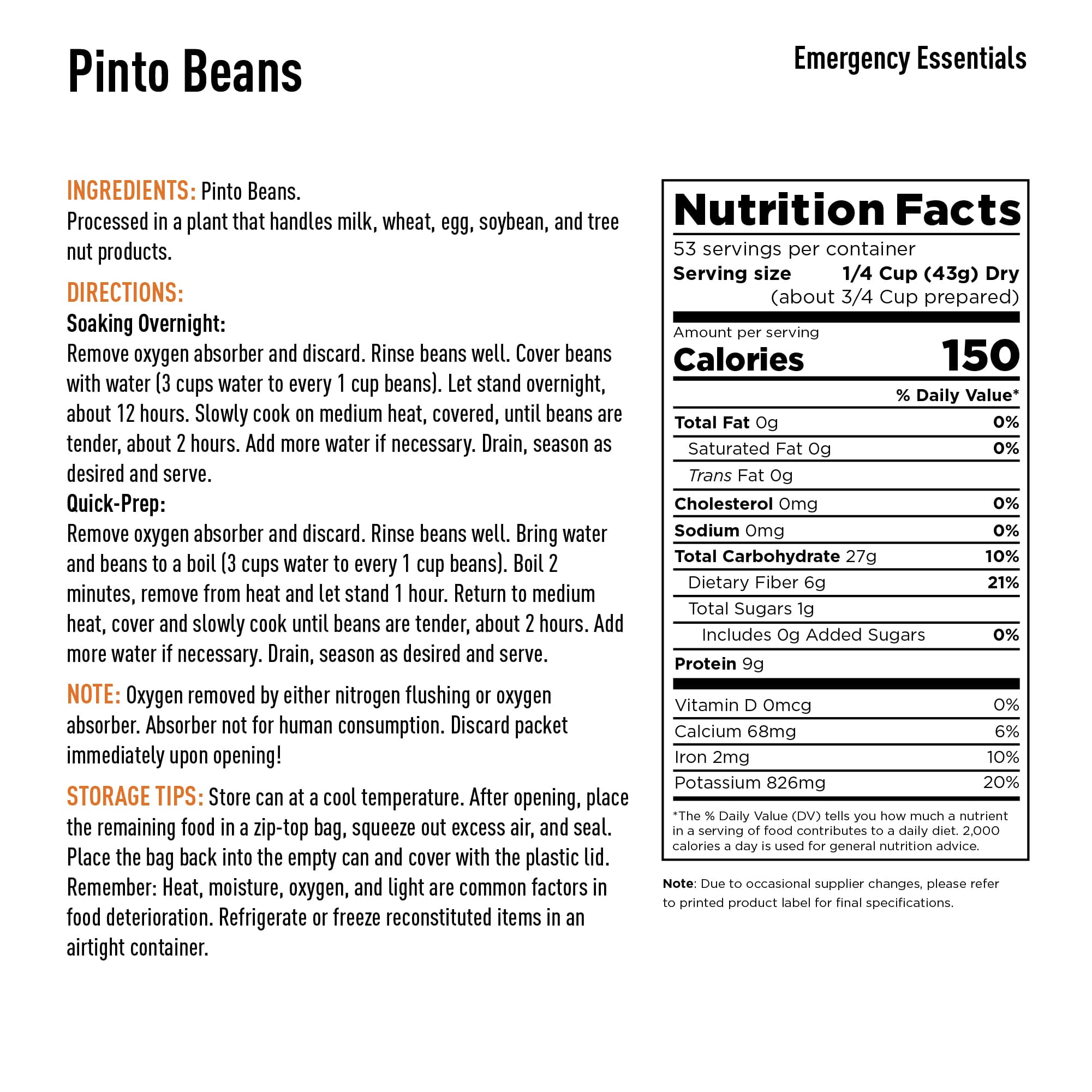Pinto Beans Nutrition Info