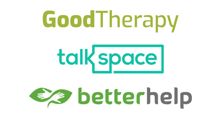 Good therapy, talkspace, and betterhelp logos