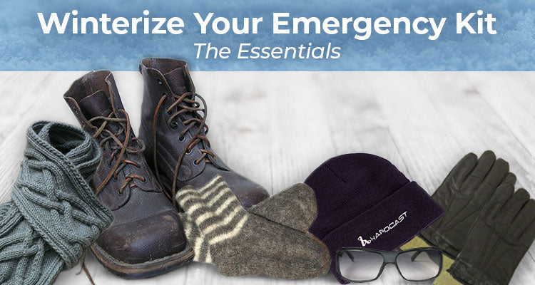Winterize your emergency kit with boots, scarf, gloves, sunglasses, beanie