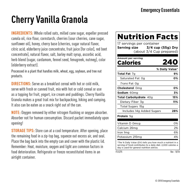 Emergency Essentials® Cherry Vanilla Granola (4626586992780)