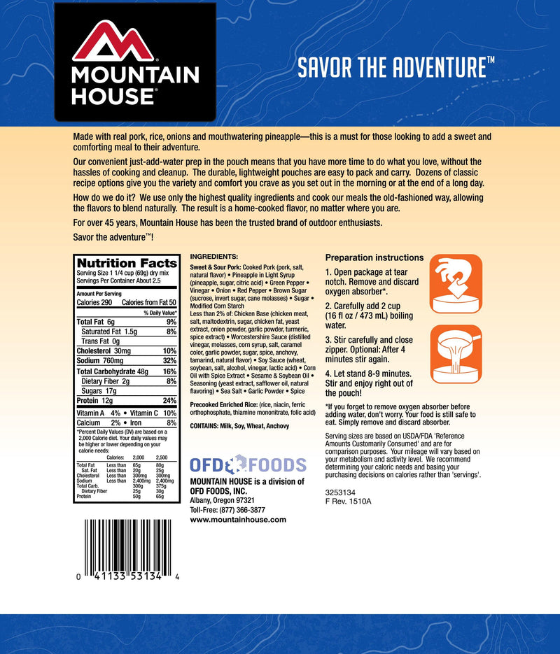 Mountain House® Sweet and Sour Pork with Rice (2.5 Servings) (4625873174668)
