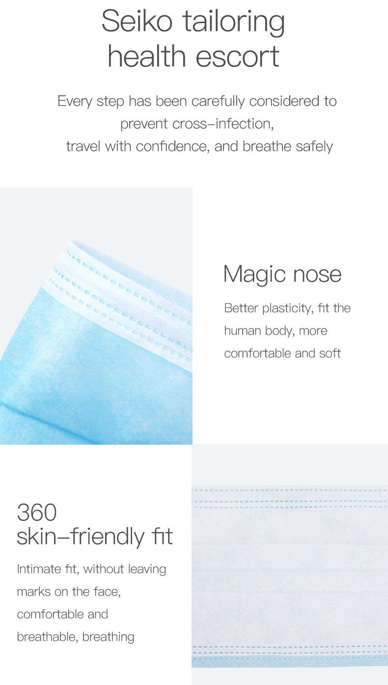 100pcs 3 Ply Disposable Mouth Cover Elastic Earloop