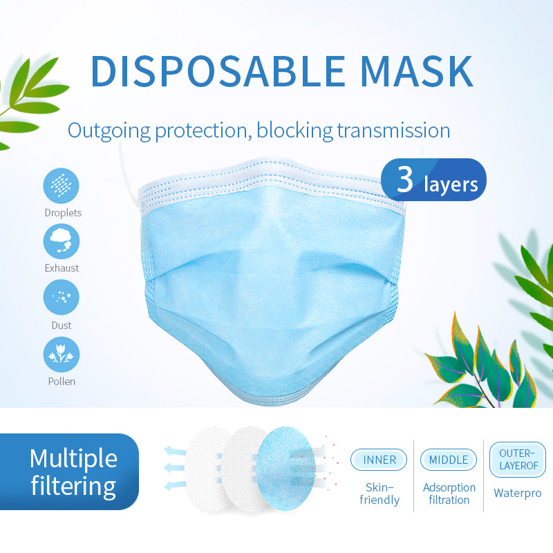 50pcs 3 Ply Disposable Face Masks Elastic Earloop