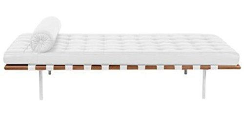 "Classic Romano Top Grain Italian Leather Daybed 77"" with Walnut Frame - White"