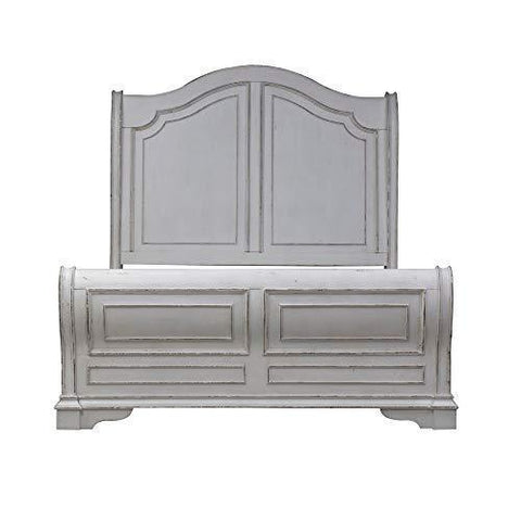 Antique White Sleigh Bed with Beautiful Headboard and Footboard, Made of Poplar Solids with White Oak Veneer Tops and Birch Veneers, Multiple Size Options + Expert Guide