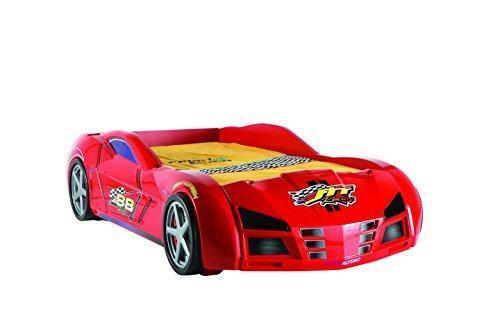 ALFEMO GPS RACER Car Bed Racing with EU Twin Mattress Sounds and Lights Remote - RED