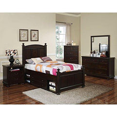 Cape Town Children's 4 Piece Full Bed, Nightstand, Dresser & Mirror with Storage in Chestnut