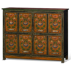 ChinaFurnitureOnline Elmwood Cabinet, Hand Painted Floral Motif Tibetan Style High Chest Distressed Orange