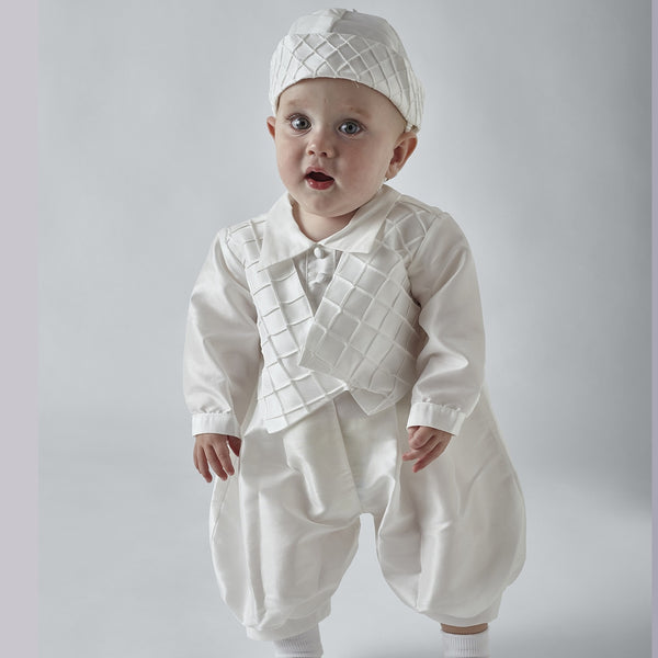Patrick Boys Ivory or White Christening Romper and Cap