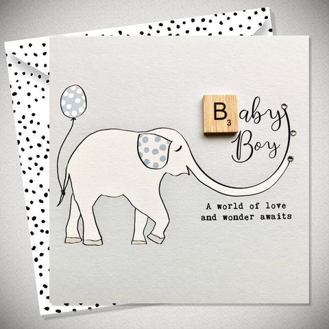 Baby Boy Card - A World of Love and Wonder Awaits - Chic Petit