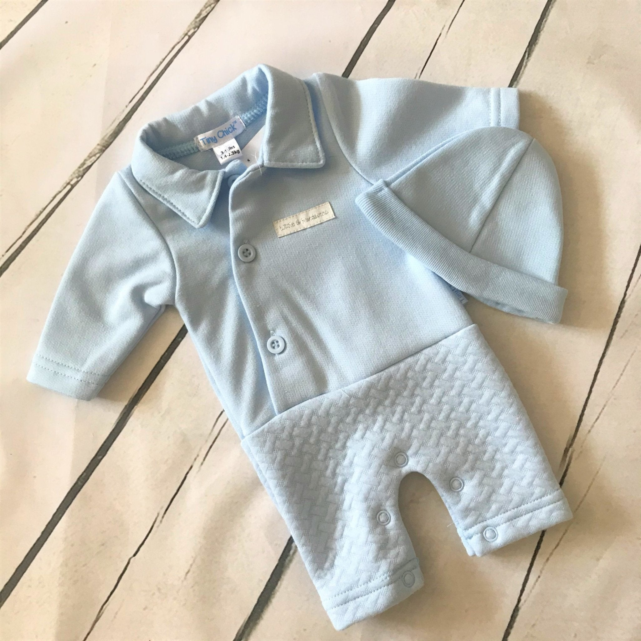 Blue All in One Romper Suit and Hat Set - Chic Petit