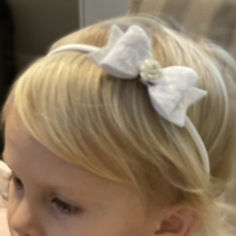 Bow with Rose Centre Hairband - Extra Small - Chic Petit