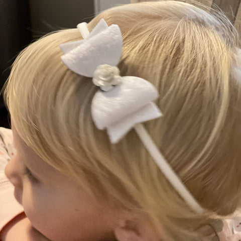 Bow with Rose Centre Hairband - Small - Chic Petit