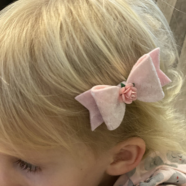 Bow with Rose Centre Hairclip - Small - Chic Petit
