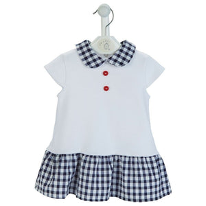 Checked Seersucker Dress with collar - Chic Petit