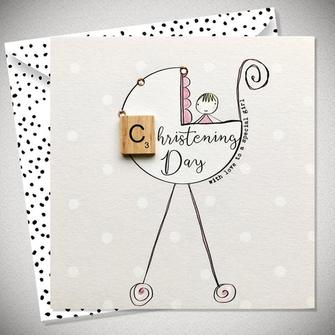 Christening Day Baby Girl Card - With Love to a Special Girl - Chic Petit
