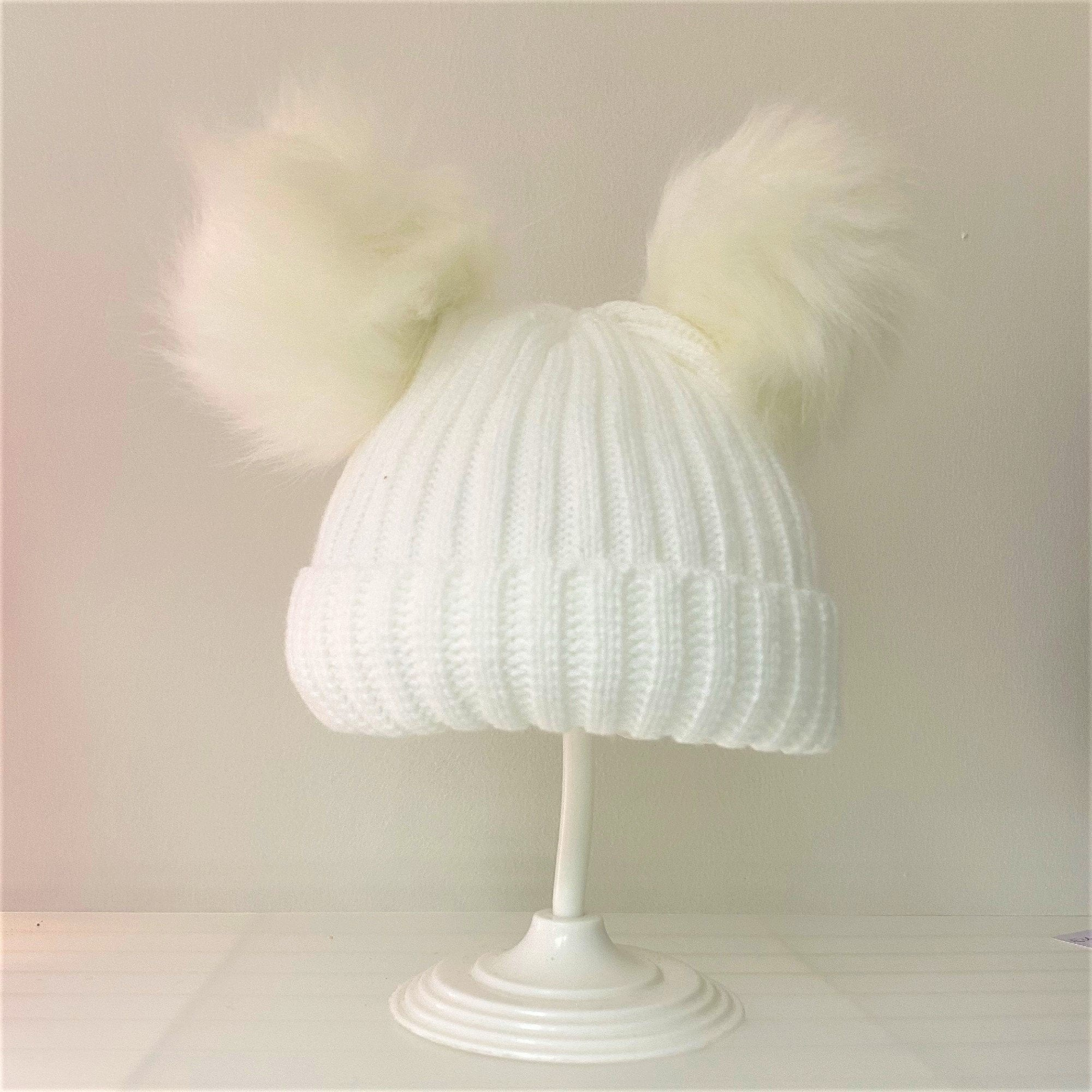 Cream Faux Fur Double Pom Knitted Hat - Chic Petit