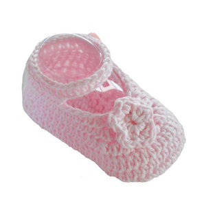 Crochet Cotton Booties with Flower - Pink - Chic Petit