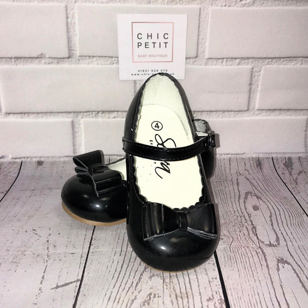 Elena Girls Mary Jane Shoes with Bow - Black - Chic Petit