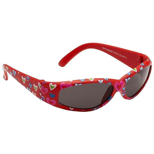 Girls Patterned Tots Sunglasses - Red with Hearts - Chic Petit