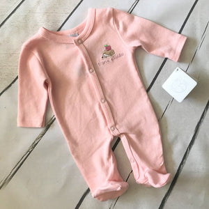 I Love Cuddles Pink Sleepsuit - SECONDS - Chic Petit