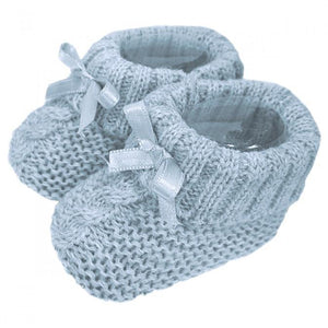 Knitted Booties with Ribbon Bow - Blue - Chic Petit