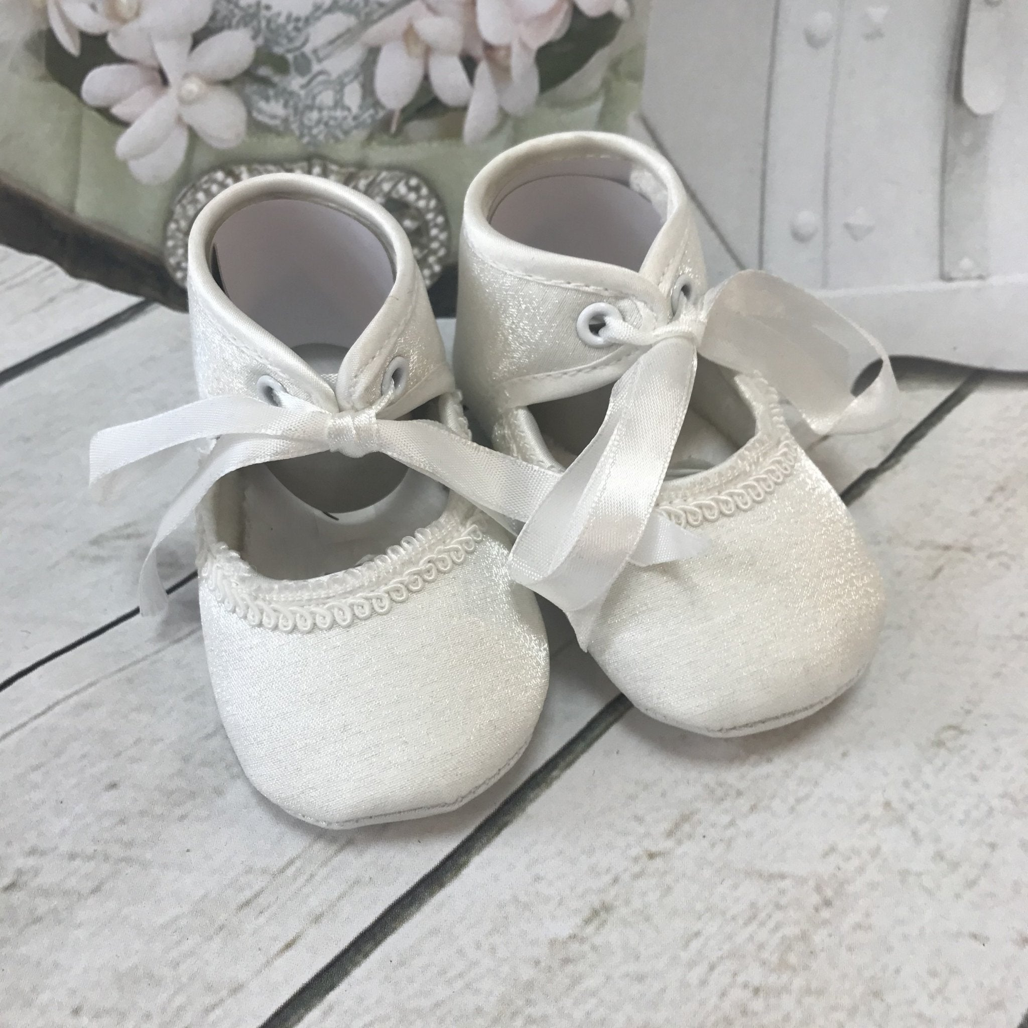 Libby Ivory or White Girls Christening Pram Shoes - Chic Petit