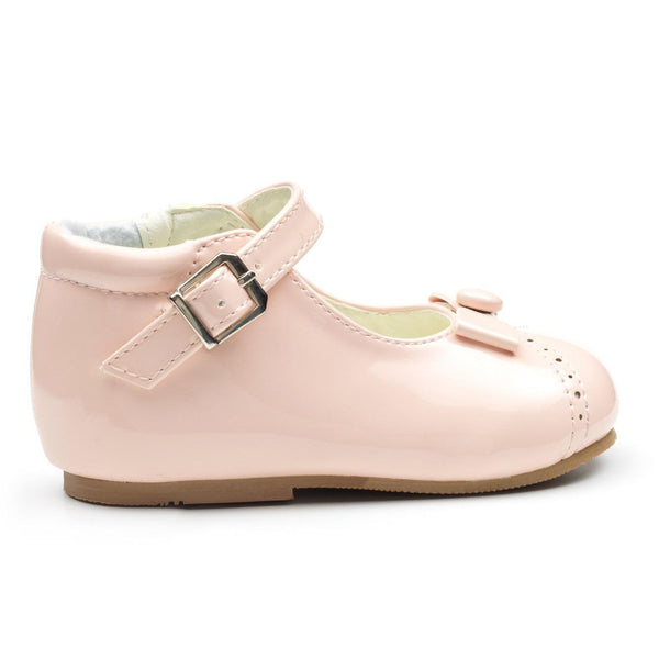 Monica Girls Faux Patent Button Shoes - Baby Pink - Chic Petit