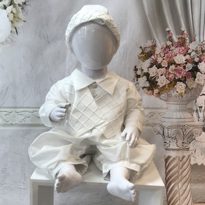 Patrick Boys Ivory or White Christening Romper and Cap - Chic Petit
