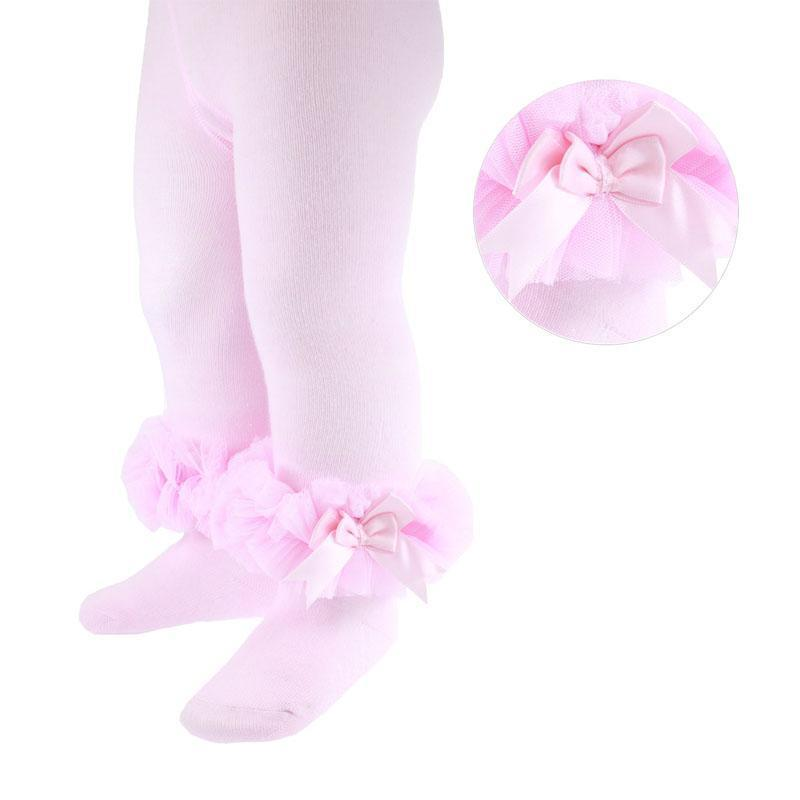 Pink Tights with Frill and Bow - Chic Petit