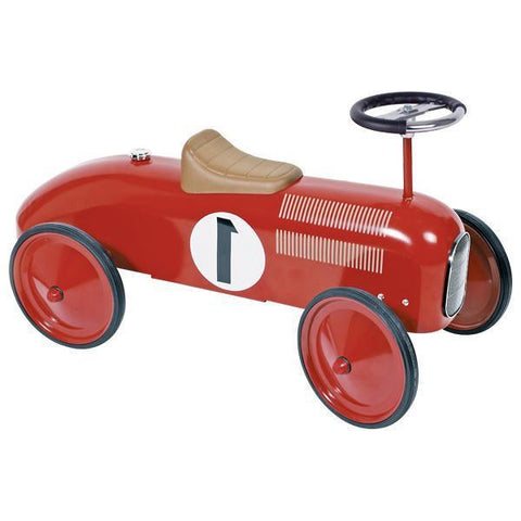 Red Classic Metal Ride On Racing Car - Chic Petit