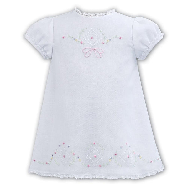 Sarah Louise White Voile A Line Embroidered Dress - Chic Petit