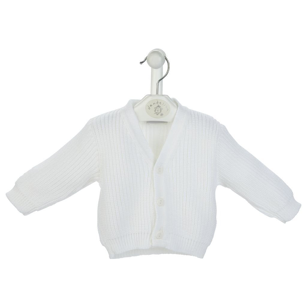 White Knitted Ribbed White Cardigan - Chic Petit