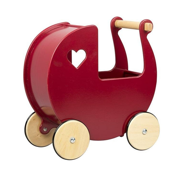 Wooden Dolls Pram - Pink, White, Blue, Red or Natural - Chic Petit