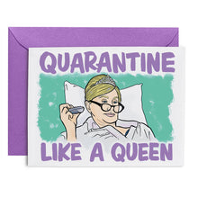 "Greeting card with Sonja wearing a tiara. Text says ""Quarantine Like a Queen"""