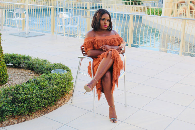 Rust Off Shoulder Fringe Dress