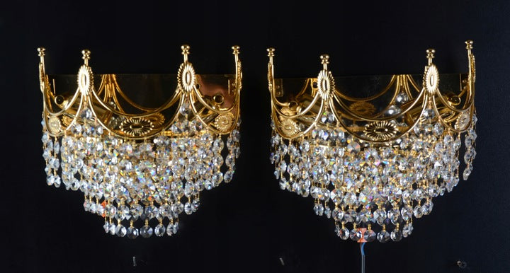PAIR OF SCONCES, Brass , Crystal Swarovski - Vintage Clock Face