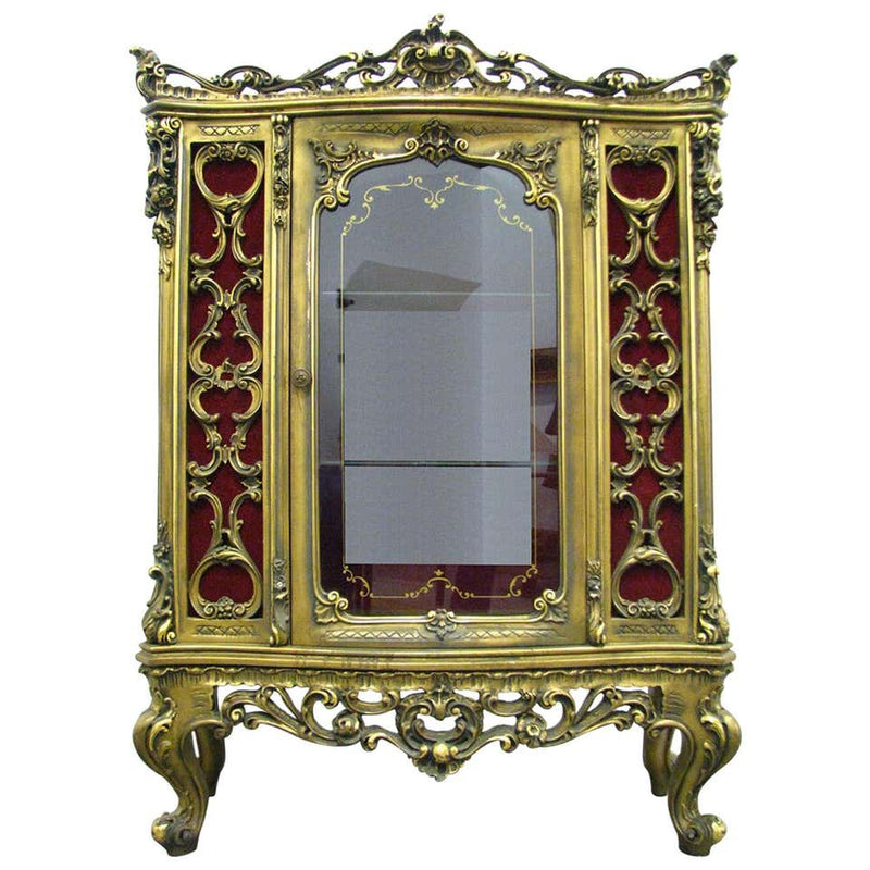 Rococo Revival Style Low Auxiliary Vitrine Giltwood, 20th Century - Vintage Clock Face