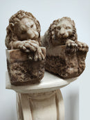 "Sculptures ""A pair of Lions"" Aglomarble - Vintage Clock Face"