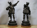 "THE ""CHEFTAINS"" sculptures, pair of bronzes, signed, turn of 19th / 20th  century. - Vintage Clock Face"