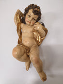 "SCULPTURE ""WINGED PUTTO"" 2, wood - Vintage Clock Face"