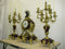 Large Marble Gilt Bronze &  Candelabra Antique French Clock Set - Vintage Clock Face