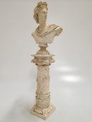 "Sculpture ""Bust of Apollo"" on a Column Stucco, End of 19th Century - Vintage Clock Face"