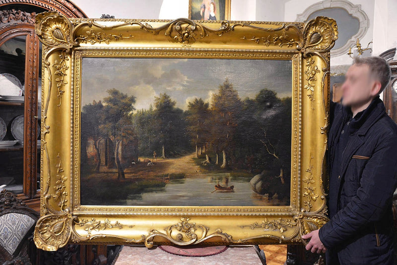 Original, 19th century oil painting in a beautiful frame - Vintage Clock Face